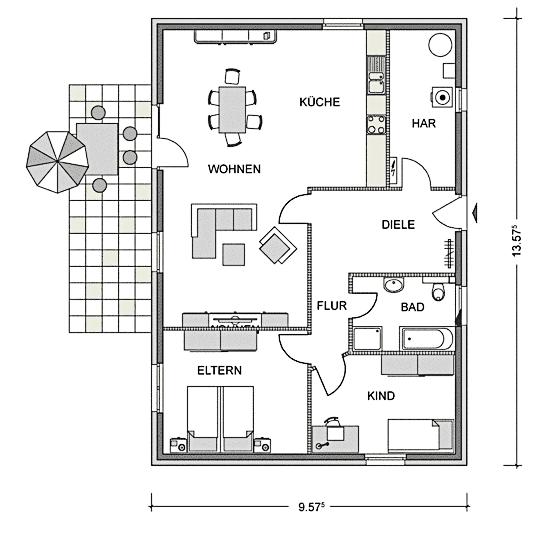Bungalow 111 Wohnen auf einer Ebene - Fertighäuser...