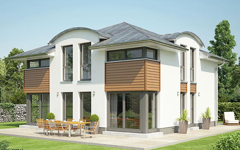 Das Bild zeigt die Villa 160 mit drei Tonnendachgauben und Zeltdach ein Augenschmaus auf 152 qm.