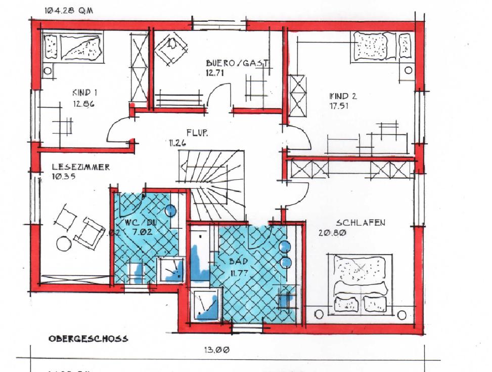 Obergeschoss Grundriss des Duo 201.