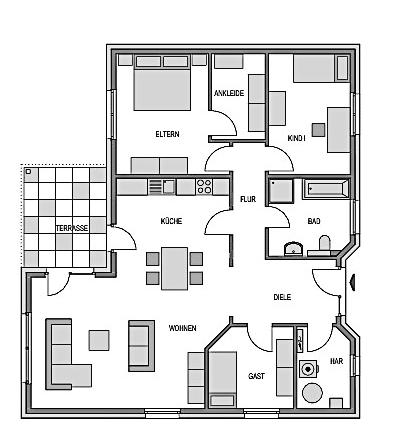 Hier ist der Grundriss Erdgeschoss des Bungalows 121 zu sehen.