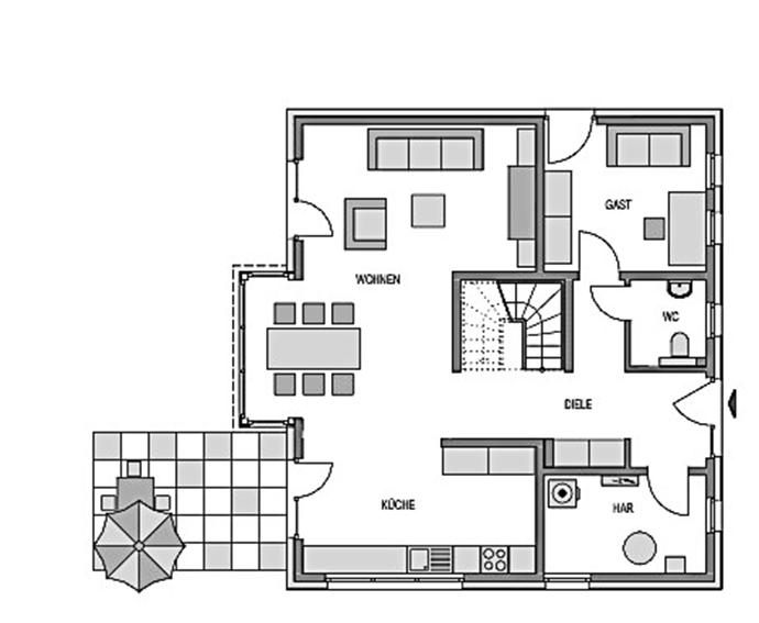 Der Grundriss Erdgeschoss des Einfamilienhaus Vialla 161 zeigt auf 80,64 m² die interessante Raumaufteilung.