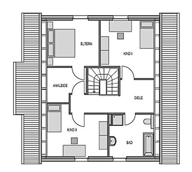Der Grundriss Obergeschoss des Einfamilienhaus Vialla 161 zeigt auf 61,88 m² unter anderem das vom Schlafzimmer erreichbare Ankleidezimmer.