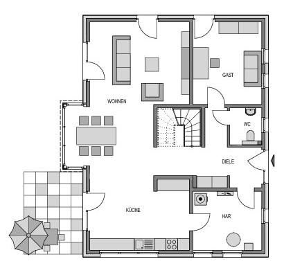 Der Grundriss Erdgeschoss des Einfamilienhaus Vialla 194 zeigt auf 99.45 m² die interessante Raumaufteilung.