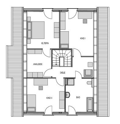 Der Grundriss Obergeschoss des Einfamilienhaus Vialla 194 zeigt auf 94.00 m² unter anderem das vom Schlafzimmer erreichbare Ankleidezimmer.