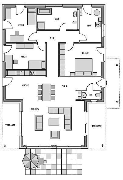 Hier ist der Grundriss des Bugalows 135 zu sehen.