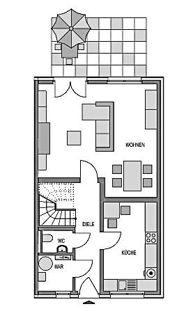 Der Grundriss Erdgeschoss des Duo 175 zeigt auf 58,65 m² die interessante Raumaufteilung.
