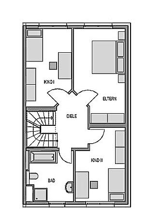 Der Grundriss Obergeschoss des Duo 175 zeigt auf 58,41 m² 2 Kinderzimmer, das Elternschlafzimmer und ein Bad.