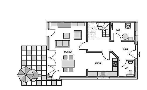 Der Grundriss Erdgeschoss des Duo 125 zeigt die interessante Raumaufteilung.