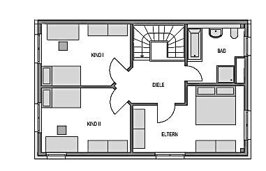Der Grundriss Obergeschoss des Duo 125 zeigt 2 Kinderzimmer, das Elternschlafzimmer und ein Bad.