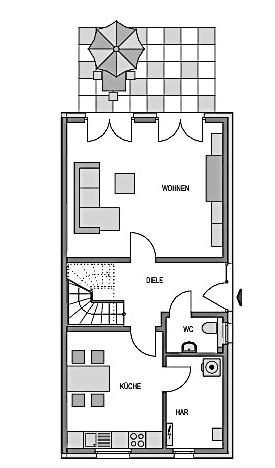 Der Grundriss Erdgeschoss des Duo 114 zeigt auf 59,70 m² die interessante Raumaufteilung.