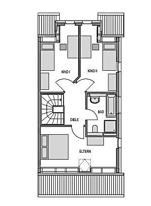 Der Grundriss Obergeschoss des Duo114 zeigt auf 53,93 m² 2 Kinderzimmer, das Elternschlafzimmer und ein Bad.