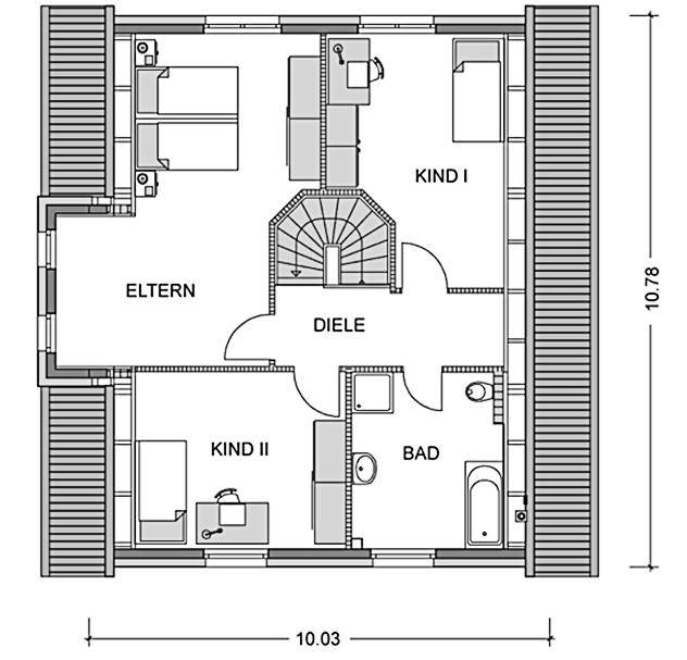 Der Grundriss Obergeschoss des Einfamilienhaus Vialla 160 zeigt auf 65,25 qm die interessante Raumaufteilung.
