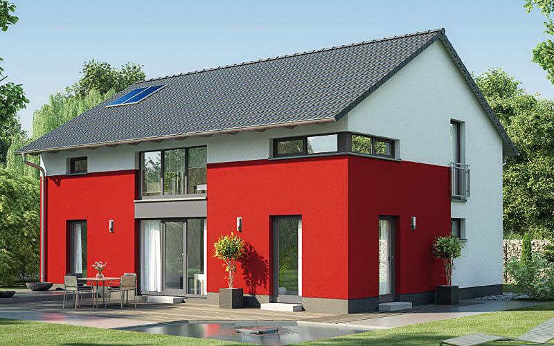 Das Aktiv-Energiehaus Ecostar 20 mit der akzentuierten Fassade und ca. 165 m².