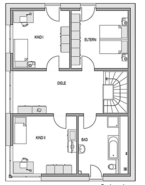 Der Grundriss Obergeschoss des Aktiv-Energiehaus Ecostar 20 zeigt auf 79,88 m² eine großzügige Raumaufteilung.