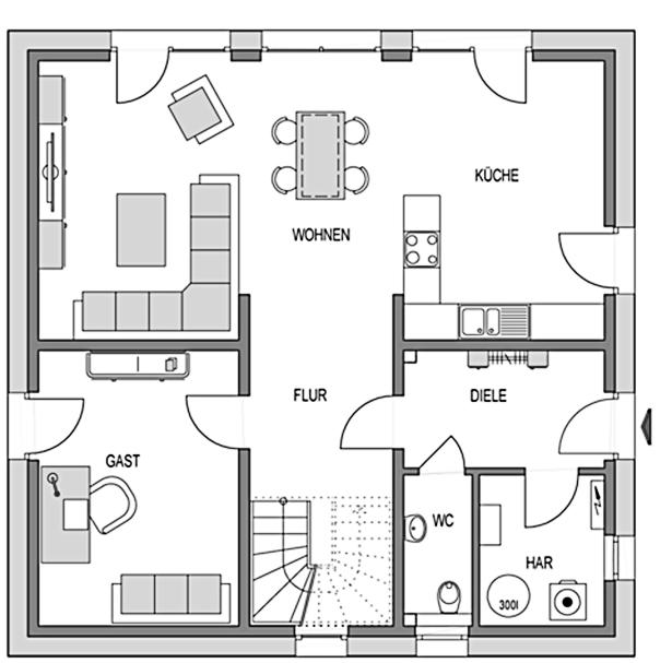 Der Grundriss Erdgeschoss des Aktiv-Energiehaus Ecostar 30 mit der großzügigen Wohnküche auf ca. 79 qm.