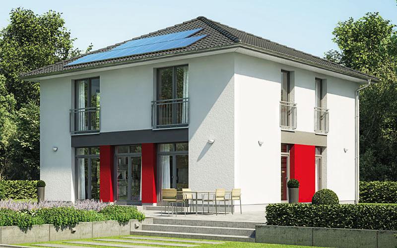 Das Aktiv-Energiehaus Ecostar 30 mit der geradlinigen, kubischen Form auf ca. 158 m².