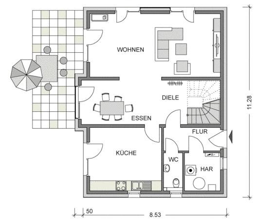 Der Grundriss Erdgeschoss des Einfamilienhaus Vialla 156 zeigt auf 77,79 m² auch, dass die Terrasse sowohl vom Essbereich als auch vom Wohnbereich erreicht werden kann .