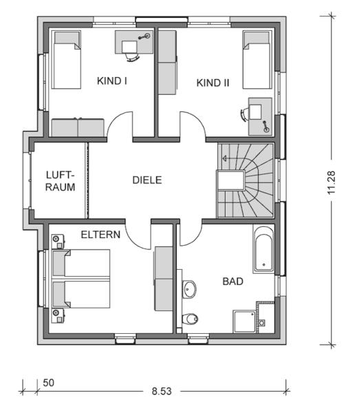 Der Grundriss Obergeschoss des Einfamilienhaus Vialla 156 zeigt auf 78,30 m² die großzügige Aufteilung von Elternschlafzimmer und den beiden Kinderzimmern.