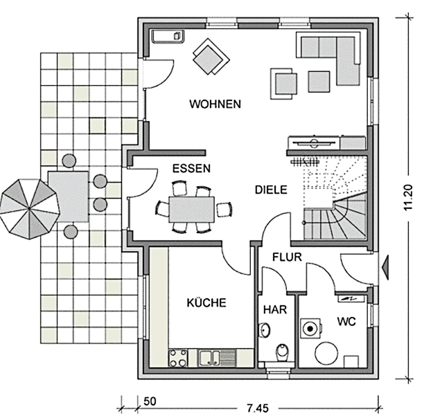 Der Grundriss Erdgeschoss des Einfamilienhaus Vialla 135 zeigt auch, dass die Terrasse sowohl vom Essbereich als auch vom Wohnbereich erreicht werden kann .