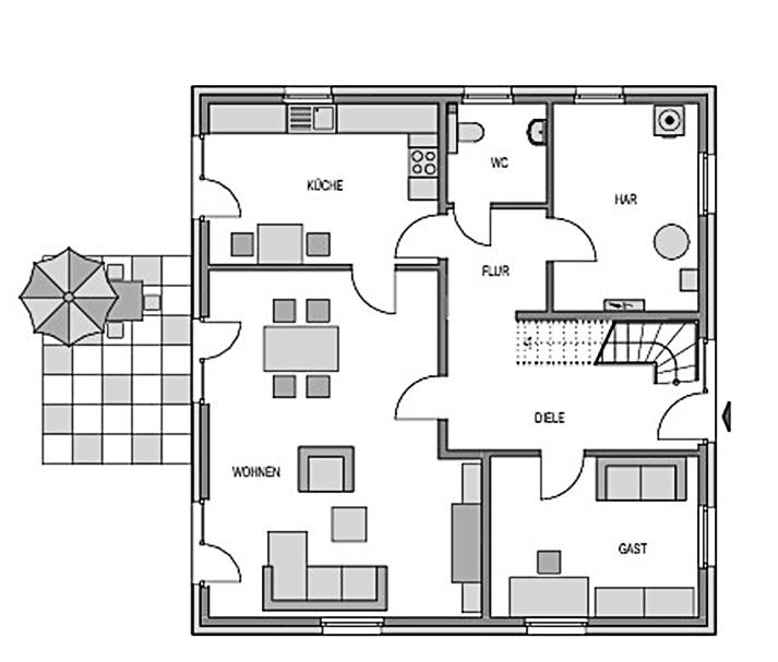 Der Grundriss Erdgeschoss des Vialla 192 zeigt auf 99.11 m² den interessanten Schnitt des Wohnzimmers mit Verbindung zur Terrasse.