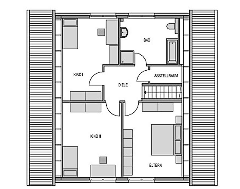 Der Grundriss Obergeschoss des Vialla 192 zeigt auf 92,99 m² die sonnigen, lichtdurchfluteten Räume der beiden Kinderzimmer.