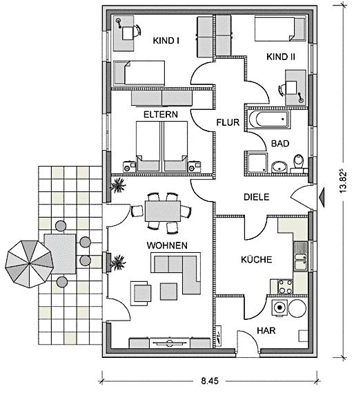 Hier ist der Grundriss des Bungalows 98 zu sehen.