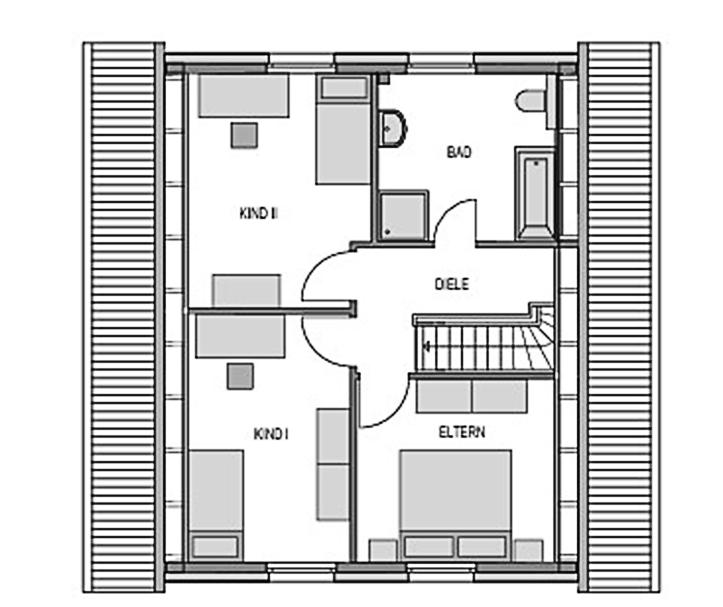 Der Grundriss Obergeschoss des Einfamilienhaus Vialla 127 zeigt auf 49,08 m² die sonnigen, lichtdurchfluteten Räume.
