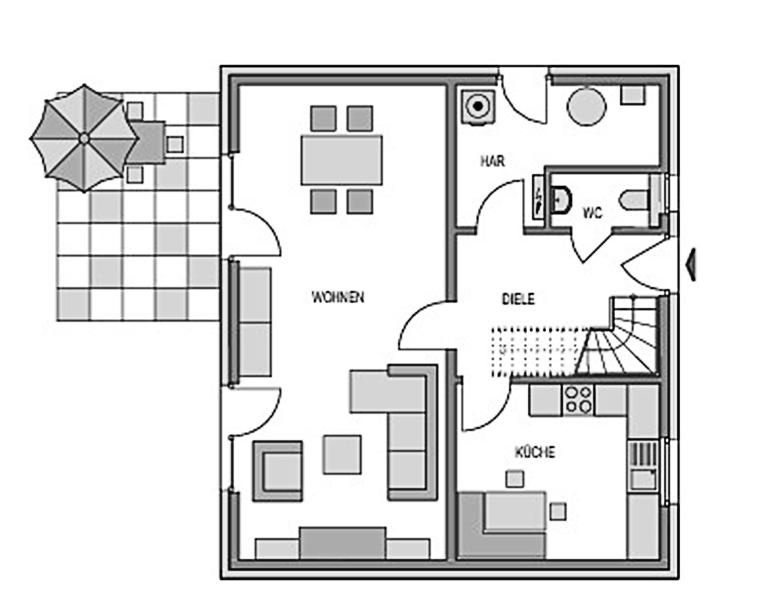 Der Grundriss Erdgeschoss des Einfamilienhaus Vialla 127 zeigt auf 64,16 m² das großzügige Wohnzimmer.