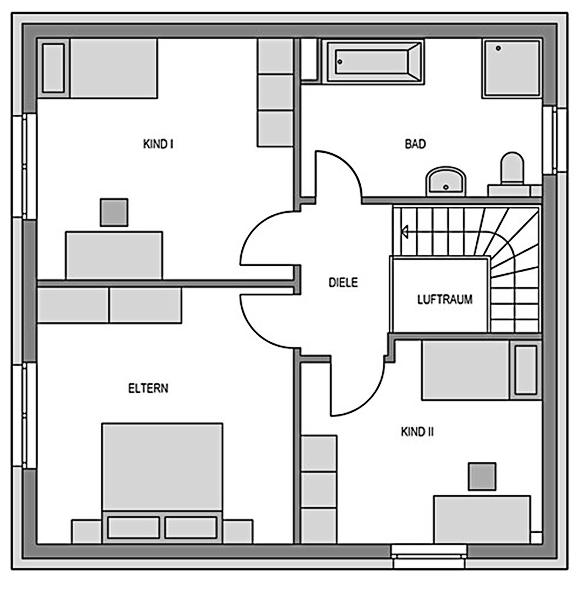 Der Grundriss Dachgeschoss der Stadtvilla Vialla 131 mit 64.27 m² mit den Schlafräumen und einem geräumigen Bad.