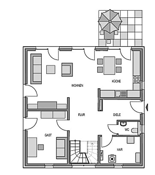 Der Grundriss Erdgeschoss der Villa City 165 mit 85,93 m² Wohnraum auch für ein Gäste- oder Arbeitszimmer.