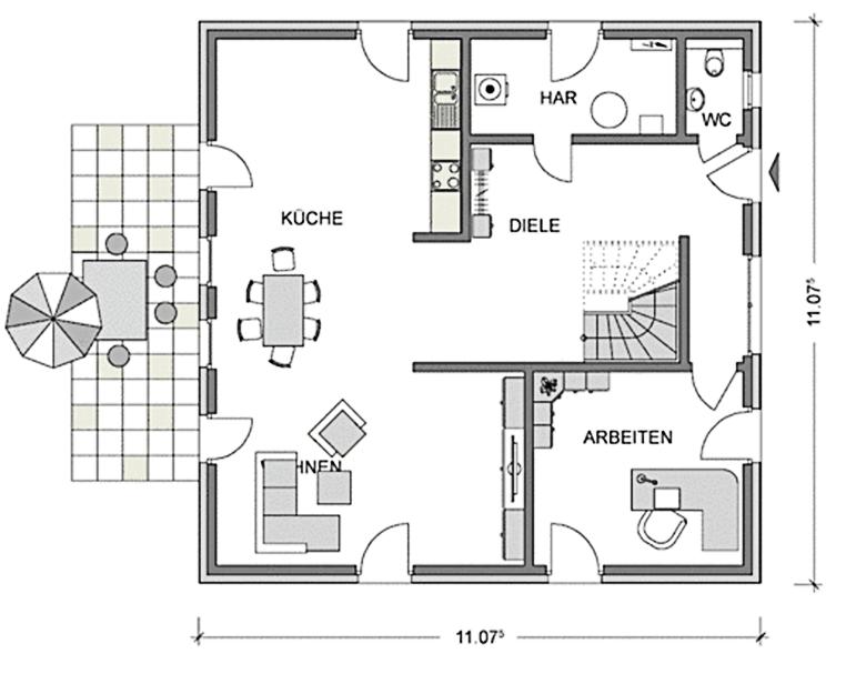 Der Grundriss Erdgeschoss der StadtvillaCity 154 mit insgesamt 99,56 m² Wohnraum bietet eine imposante Diele (22 m²) und einen großzügigen Wohn- und Essbereich mit offener Küche (51 m²).