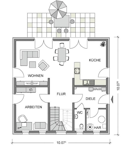 Das Bild zeigt den Grundriss Erdgeschos der Villa City 167 mit 84,42 m² und symmetrischem Planungsaufbau und repräsentativen Elementen.
