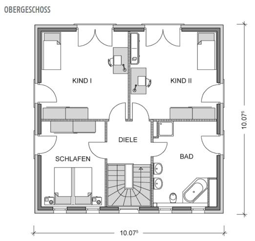 Das Bild zeigt den Grundriss Dachgeschoss der Villa City 167 mit 82,86 m² und viel Raum durch bodentiefe Fenster .
