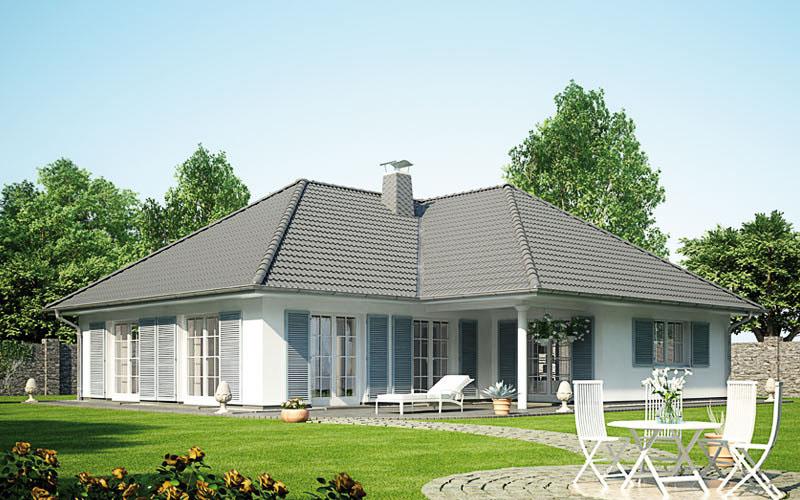 Das Bild des Winkelbungalow 165 mit grauem Dach und grauen Fensterläden.