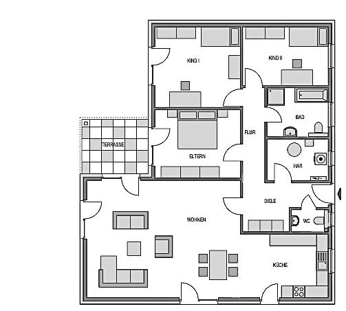 Der Grundriss des Bungalow W 148 zeigt die interessante Raumaufteilung.