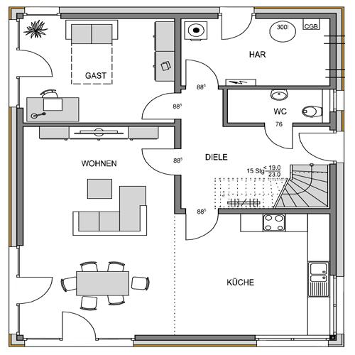 Erdgeschoss Grundriss des Vialla 167