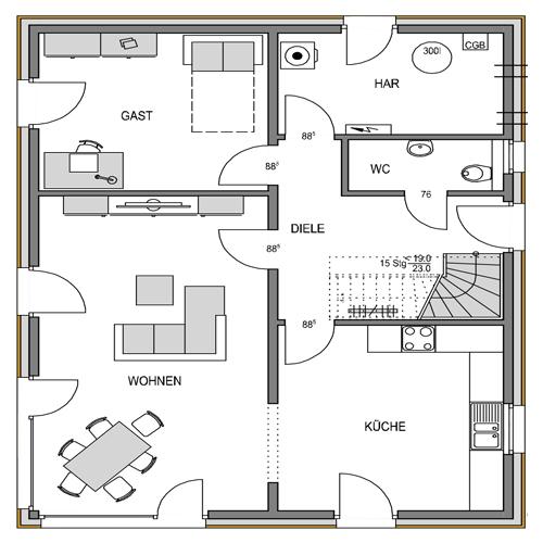 Erdgeschoss Grundriss des Vialla 166 Var.2.