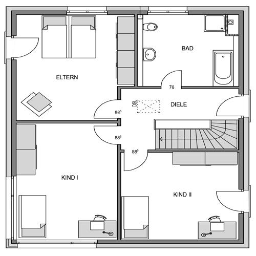 Obergeschoss Grundriss des Vialla 166 Var.2.