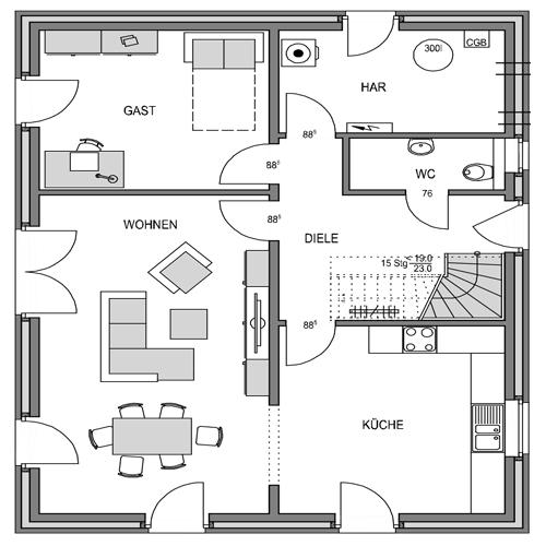 Erdgeschoss Grundriss des Vialla 167 Var.1.