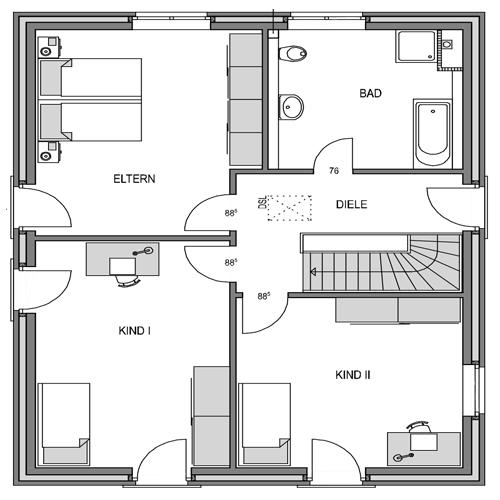 Obergeschoss Grundriss des Vialla 167 Var.1