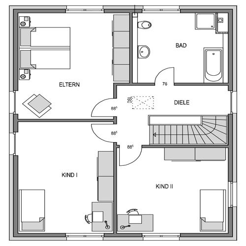 Obergeschoss Grundriss des Vialla 166