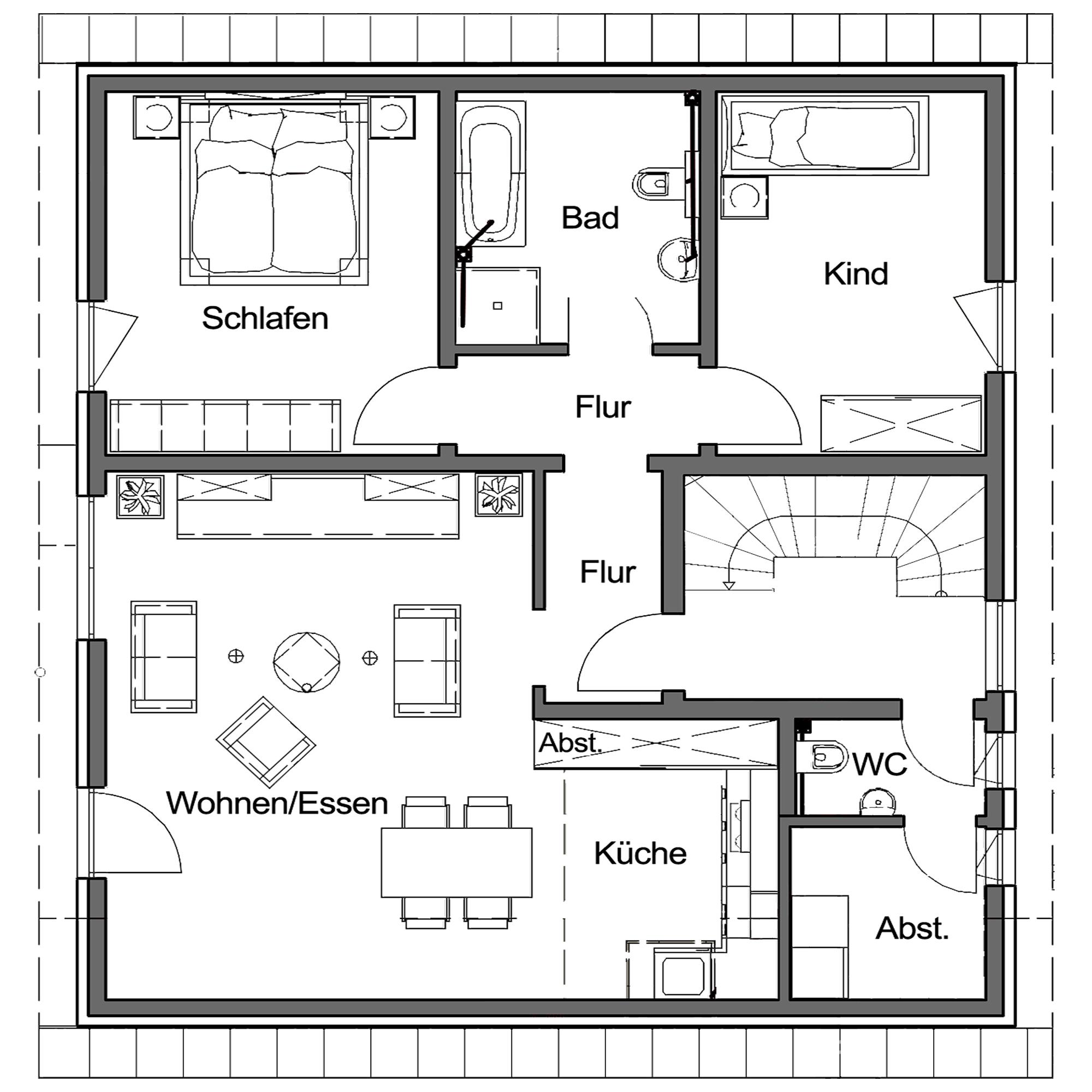 Obergeschoss Grundriss des Duo 186.