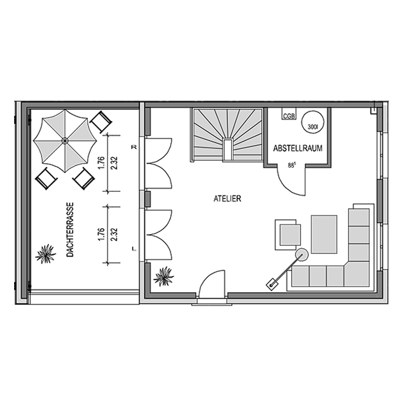Dachgeschoss Grundriss des Duo 191.