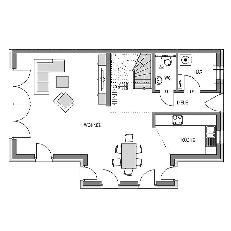 Erdgeschoss Grundriss des Duo 191.