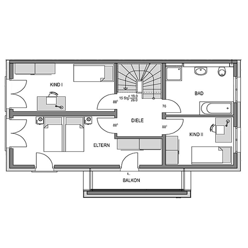 Obergeschoss Grundriss des Duo 191.