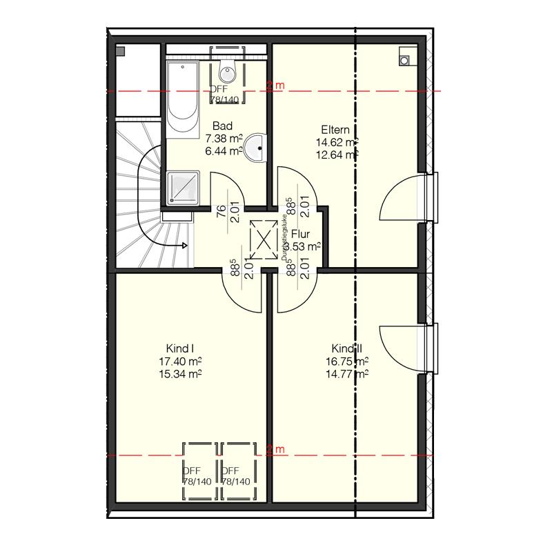 Erdgeschoss Grundriss des Duo 121