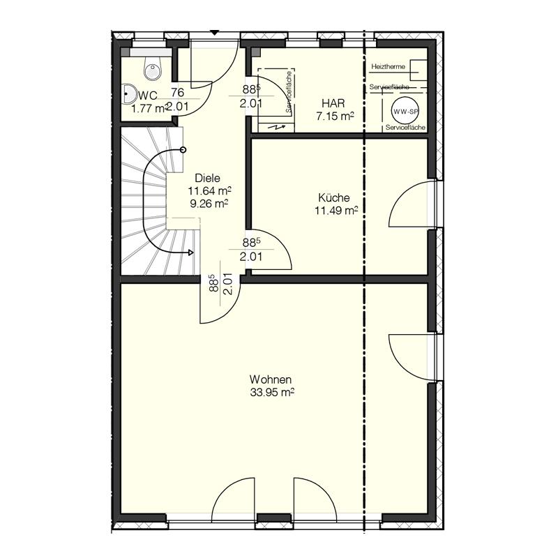 Obergeschoss Grundriss des Duo 121