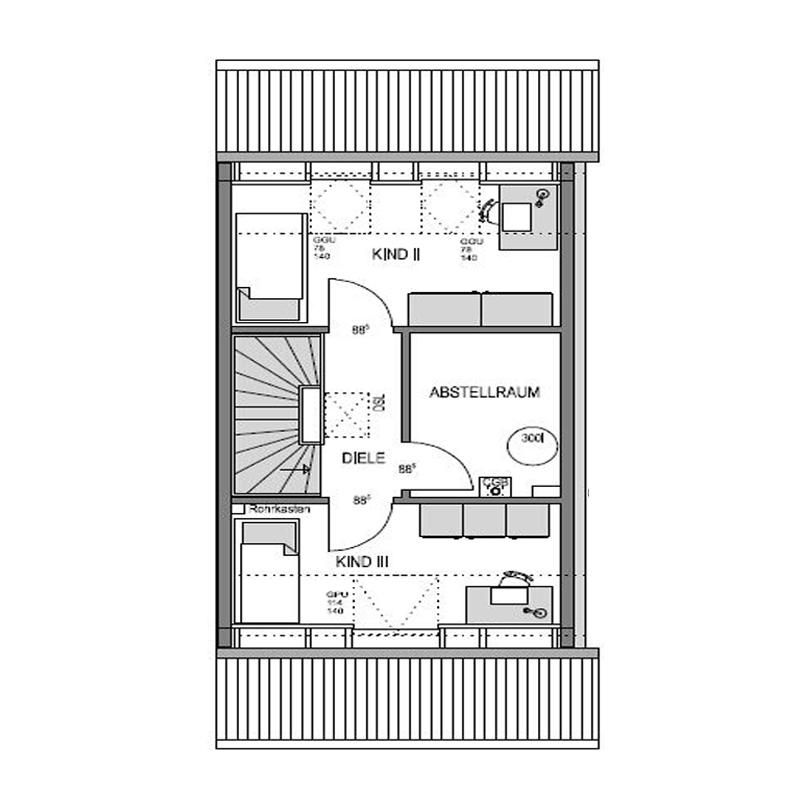 Dachgeschoss Grundriss des Duo 140