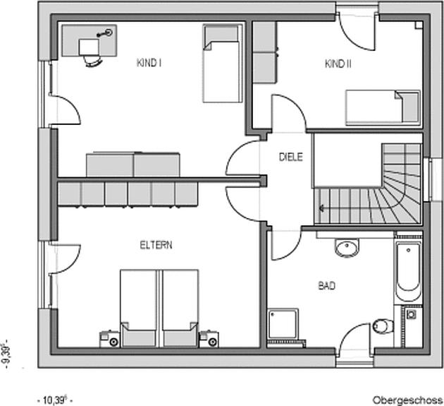 Obergeschoss Grundriss des Ecostar 40