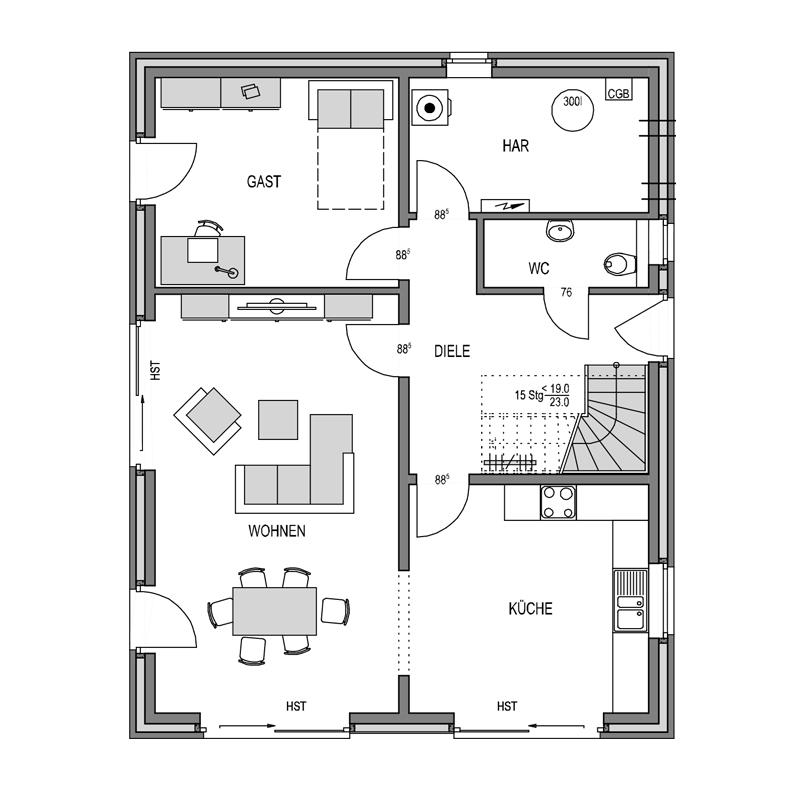 Erdgeschoss Grundriss des Cubus 165